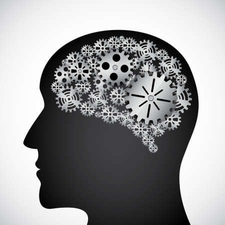 Gears in the mind profile Stock Vector - 14799619
