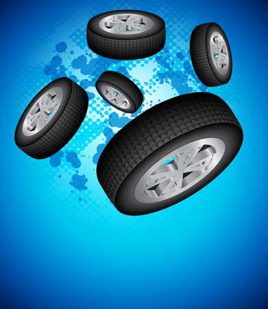 Wheels Background Vector