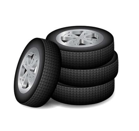 Four auto wheels Illustration