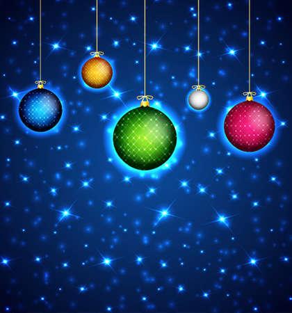 religious christmas: Christmas background with christmas balls Illustration