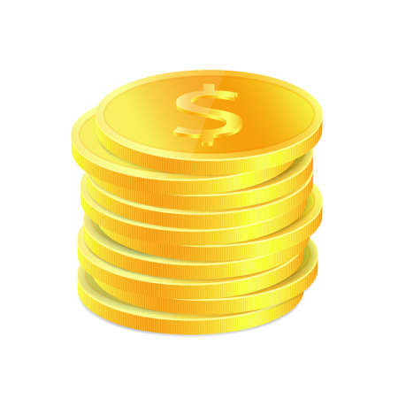 coins stack: Stack of golden coins
