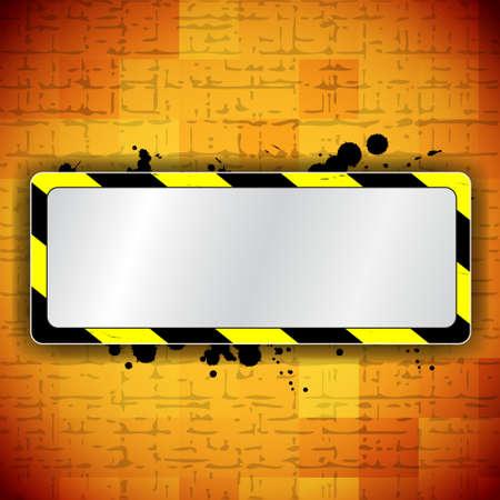 industrial danger: Fondo anaranjado con rayas marco y advertencia Vectores