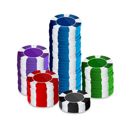 Stack of casino chips. Raster version Illustration