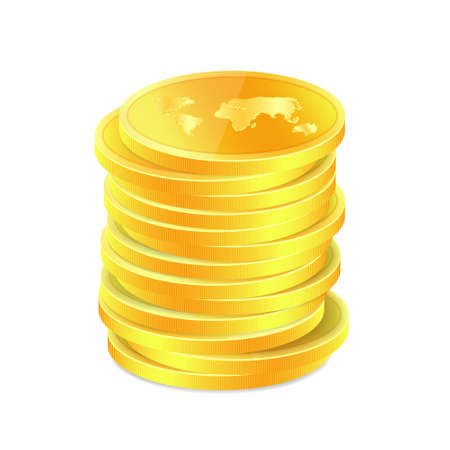 Stack of golden coins with map. Raster version Stock Vector - 15253478