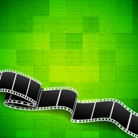 theater man: Abstract green background with film reel Illustration