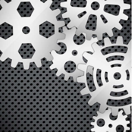 Abstract background with gears on circular grid