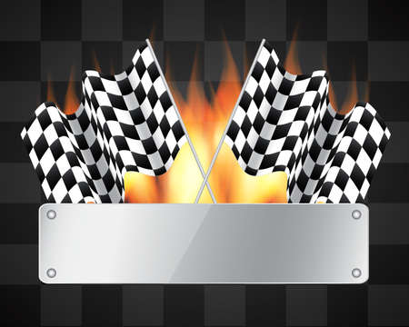 course de voiture: Arri�re-plan avec drapeaux � damier