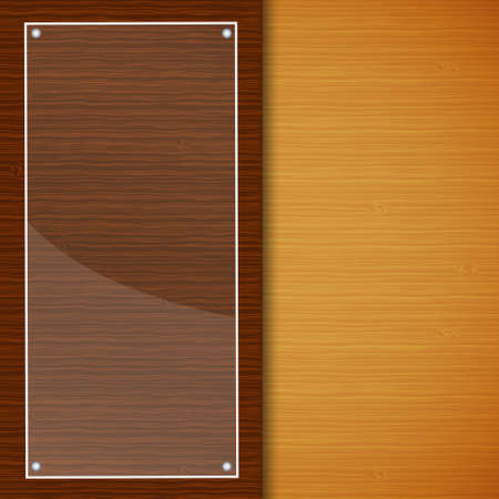 Wood brochure with glass frame Vector