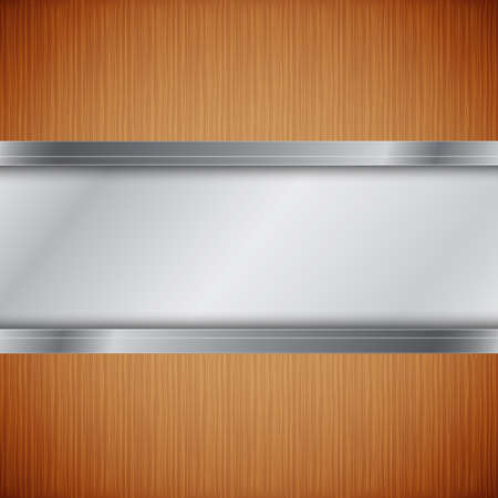 Wood background with metallic frame Stock Vector - 17105288