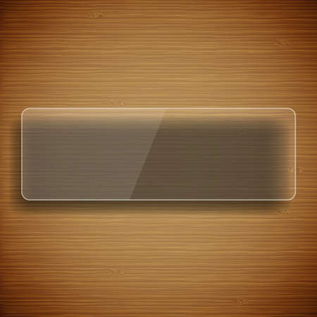 Wood background with glass frame Stock Vector - 17105281
