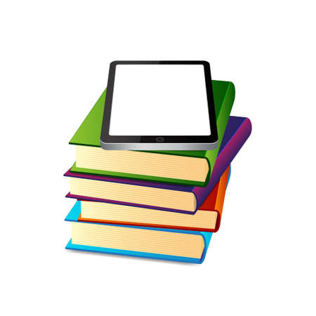 Books ans tablet pc Stock Vector - 17304754