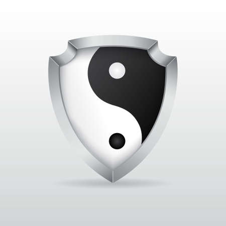 Shield with yin yang Vector
