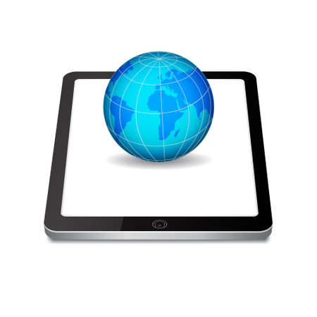 Tablet PC and planet Stock Photo - 18014648