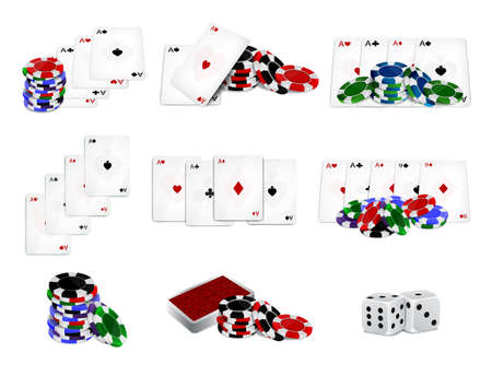 Set of casino chips and cards Illustration