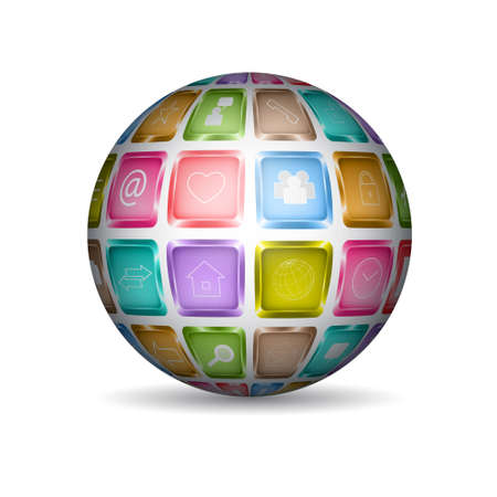 Sphere with media icons Vector