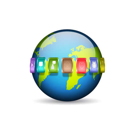 Planet with media icons Vector