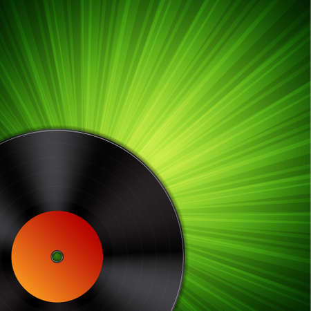 Background with vinyl record. Vector