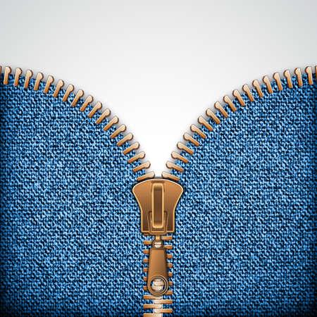 Denim texture with zipper. Vector