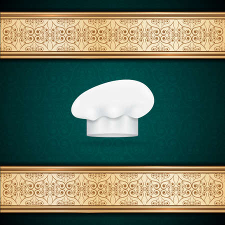 commercial kitchen: Menu template with chef hat.  Illustration
