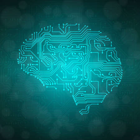 Stylized mind. Circuit board texture.  Vector