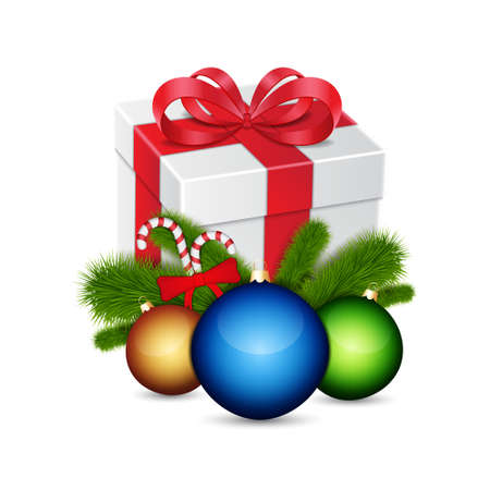 Gift with christmas balls Vector