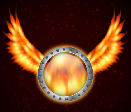 Shield with fire wings Vector