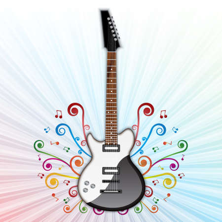Background with electric guitar Illustration
