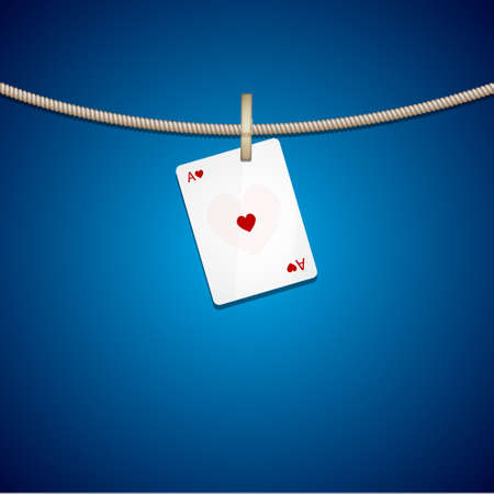 joker playing card: Ace on rope