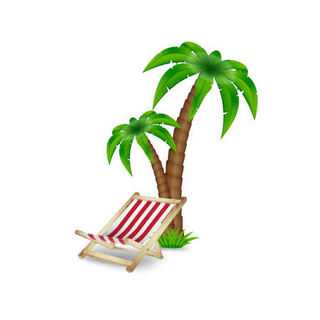 Palm tree with deck chair Stock Illustratie