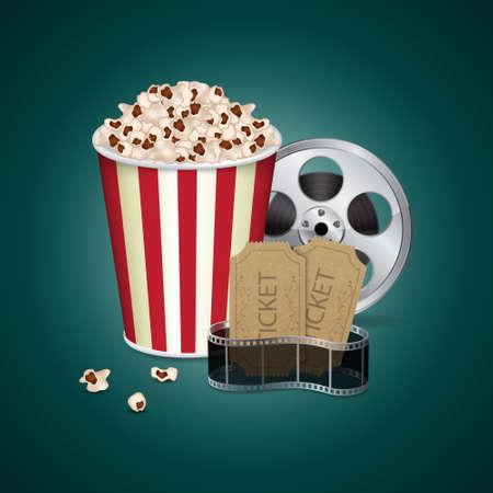 cinematographer: Filmstrip with vintage ticket Illustration