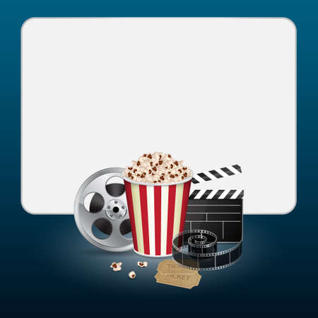 movie and popcorn: Filmstrip with vintage ticket Illustration