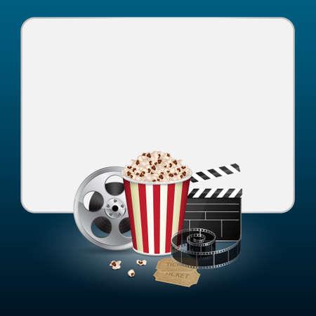 camara de cine: Película con billete vendimia Vectores