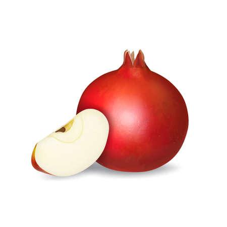 Fresh pomegranate and apple slice