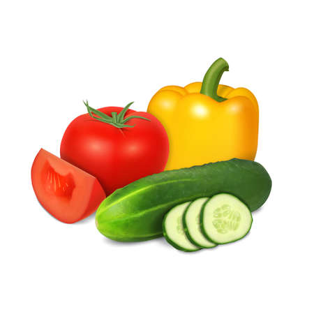 Tomato, cucumber and pepper