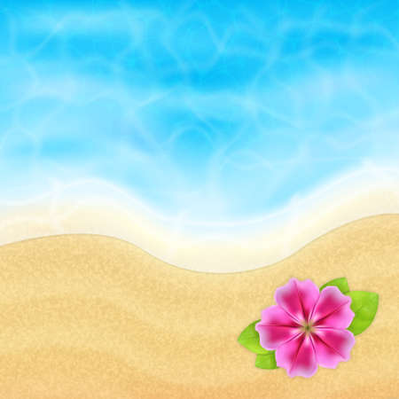 topical: Summer vacation background. Topical sea and beach with flower. EPS10 vector