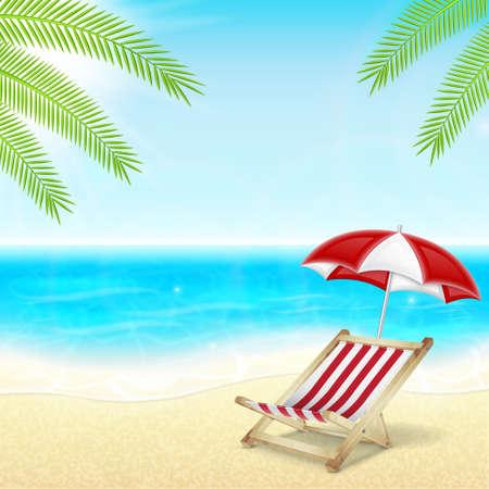 transat: Les vacances d'�t� arri�re-plan. Mer tropicale, soleil et plage avec un parasol et chaise longue. Palmier. EPS10 vecteur