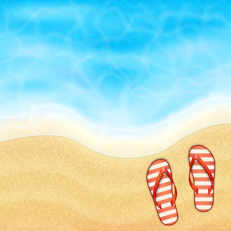 topical: Summer vacation background. Topical sea and beach with flip-flop. EPS10 vector