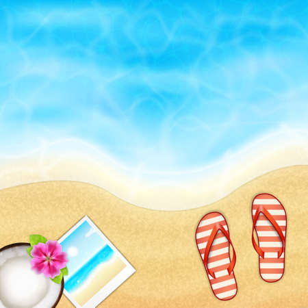 flipflop: Summer vacation background. Topical sea and beach with flip-flop, coconut and photo frame. EPS10 vector Illustration