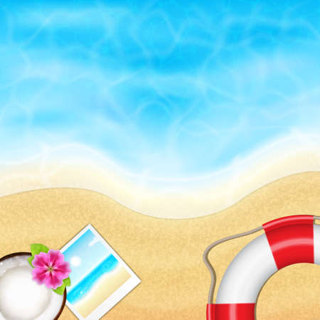 tranquil scene: Summer vacation background. Topical sea and beach with coconut, flower, lifebuoy and photo frame. EPS10 vector Illustration