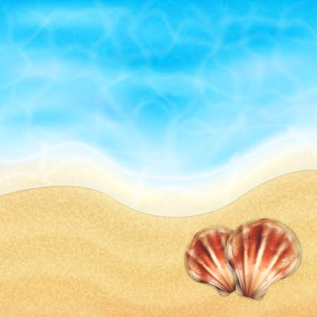 topical: Summer vacation background. Topical sea and beach with sea shells. EPS10 vector