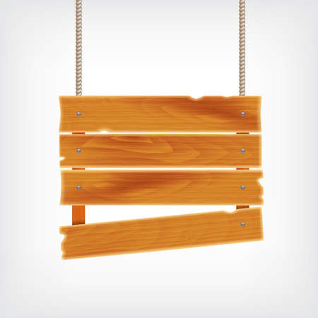 wooden plank: Wooden plank on rope. Background with wooden plank. vector