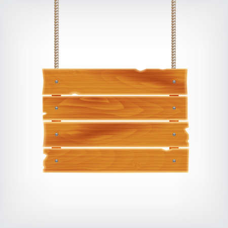 plywood: Wooden plank on rope. Background with wooden plank. vector