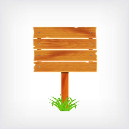 plywood: Wooden plank with grass. Background with wooden plank. vector