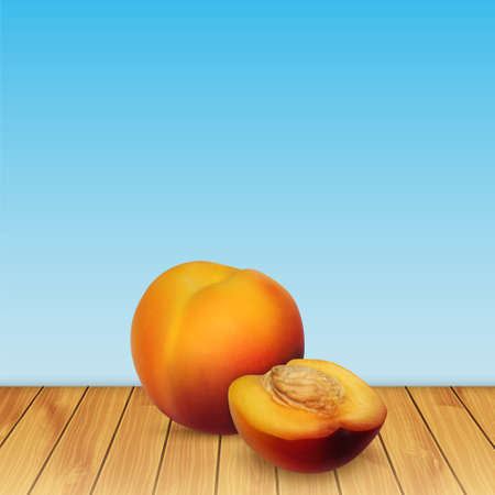 nectarine: Nectarine on wood. Background with nectarine. Summer fruit. High quality vector. EPS10 vector