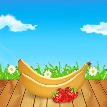 Background with strawberries and banana on wood. Summer time. Time for a picnic. Grass and chamomile. High quality vector. EPS10 vector Illustration