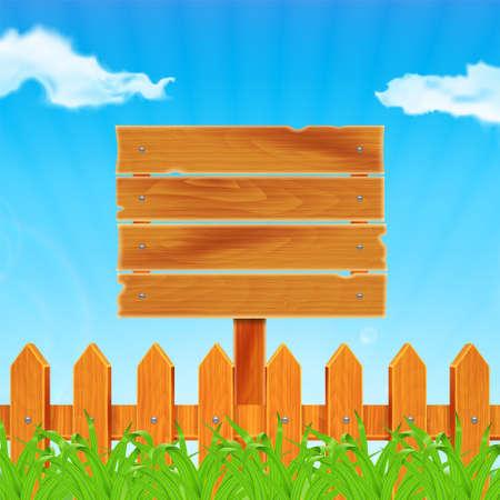 Achtergrond met groene gras en een houten hek. Houten plank op de weide. Hemel met wolken. Landschap. Zomertijd.