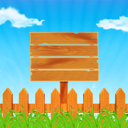 plank: Background with green grass and wooden fence. Wooden plank on meadow. Sky with cloud. Landscape. Summer time.