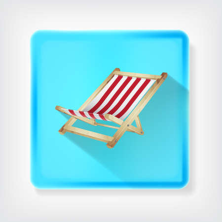 deck: Deck chair. Icon with long shadow. vector Illustration
