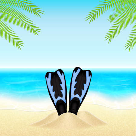 flippers: Verano de fondo con las aletas en la arena. EPS10 vector