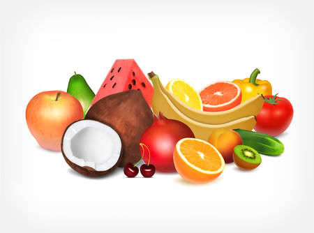 Fruits and vegetables. Vector icon.  vector